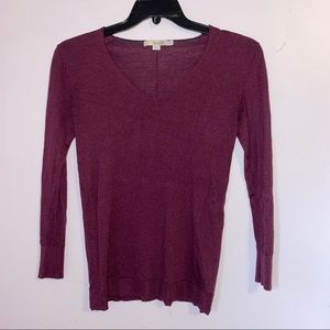 Boden V-Neck Purple Knit 3/4 Sleeve Sweater